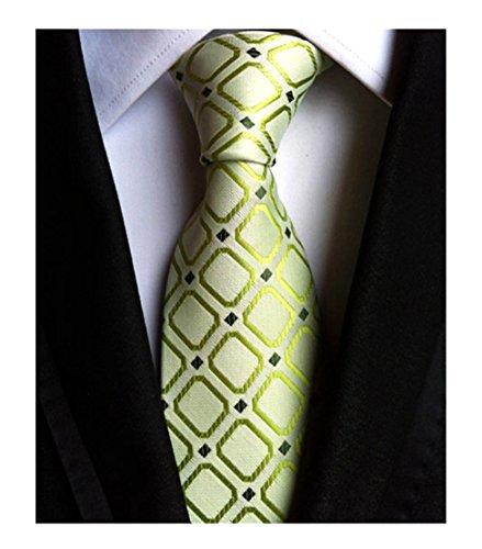 Elfeves Men's Green Checks Woven Silk Tie Spring Necktie for Xmas Gift Giving