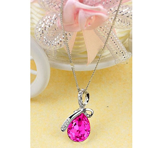 [Usstore Women Lady Rhinestone Chain Crystal Pendant Necklace Jewelry Gift (Red)] (90s Costumes Couples)