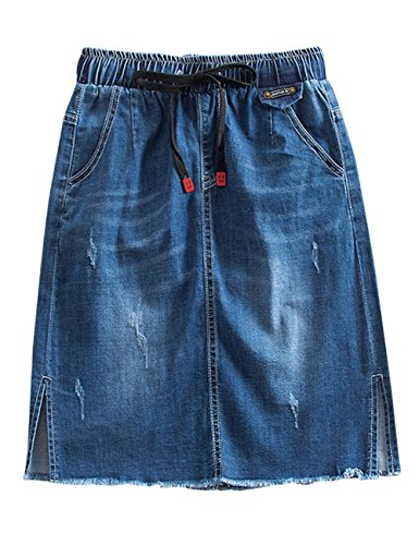 Yimoon Women's Comfy Drawstring Waist Knee Length A Line Jean Denim Midi Skirt (Blue, X-Small) ()
