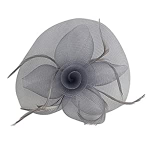 Flower Mesh Feather Fascinator Hat Hairpin Weddings Races Prom Ladies Fascinator - Gray, 7.9 x 5.9 x 3.1 inch