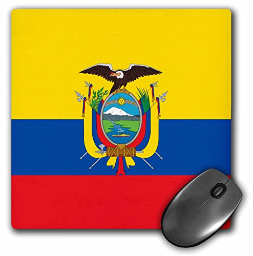 3dRose LLC 8 x 8 x 0.25 Inches Mouse Pad, Flag of Ecuador, South America, Yellow/Blue/Red, Condor Bird Coat of Arms (mp_158307_1) - Ecuador Coat