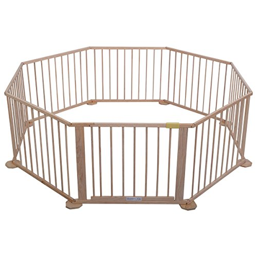 Price comparison product image Costzon Wooden Baby Playpen 8 Panels Versatile Play Space for Toddlers Safety Play Fence