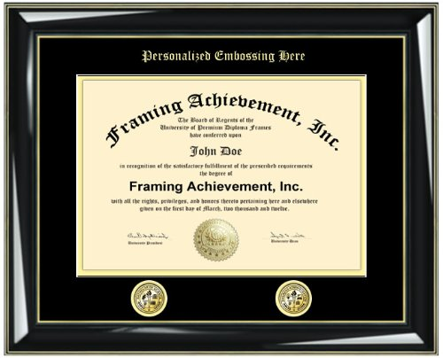 Gold Emboss Graduation Personalized Certificate Frame with Two Double Gold Seal Insignia Logos - Glossy Majestic Black with Gold Accents University Graduation Gift Diploma Frame - College Degree Frame - Top mat (Black) Inner mat (Gold)