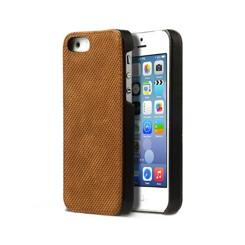 Zenus Pixel Leder Bar Case/Tasche Camel für Apple iPhone 5/5S