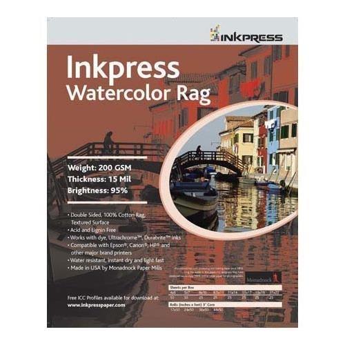 Inkpress Watercolor Linen, Texture Matte Archival Cotton Rag Inkjet Paper, 15mil., 250gsm, 11x17, 25 Sheets. by Inkpress