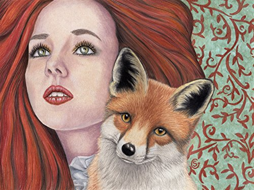 fox-girl-woman-watercolor-painting-9x12-redhead-red-turquoise-copper-colored-pencil-sherry-goeben