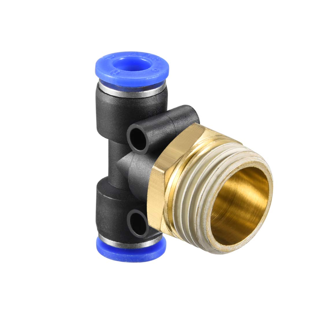Plastic Tee Push to Connect Tube Fittings 10 mm or 25//64OD x 1//4 G Male Thread Push Lock Blue 8 Pieces