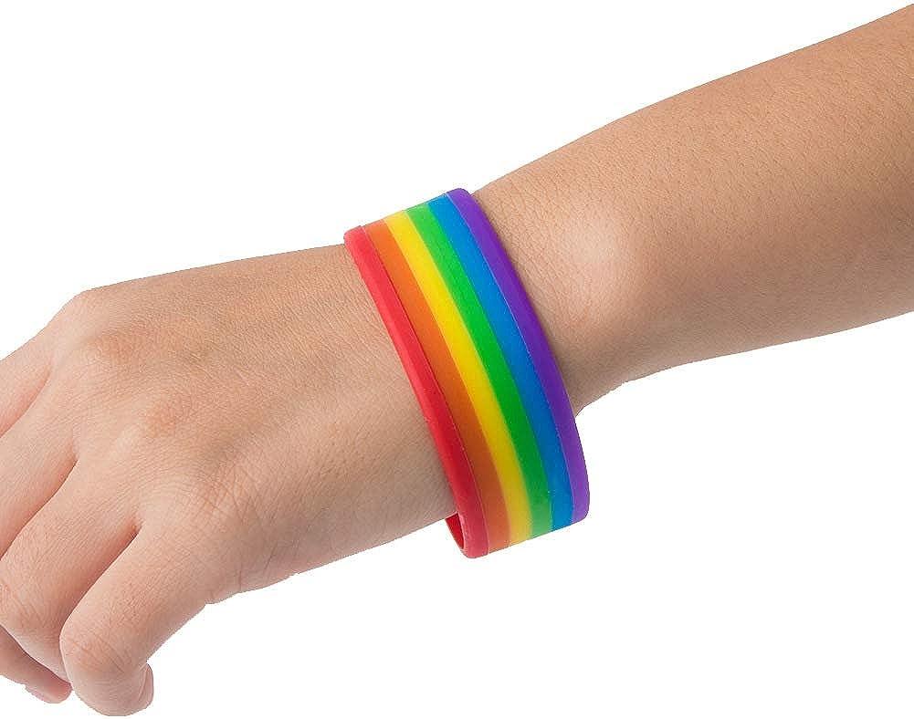 Powerfulline Exquisite Mens Womens Rainbow Band Silicone Gay Lesbian Wristband Bracelet Bangle Sale