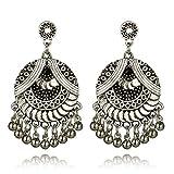 BSGSH Bohemian Chandelier Dangle Earrings with Tassel Drop Lightweight Ethnic Earrings for Women Girls (Silver)