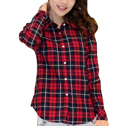 Camiseta Cuadros Mujeres Tshirt Casual Yying Abajo Botón Abrigo Camisa Colores Elegante Manga Shirt Oficina S 2xl Blusa 7 2 Larga Trabajo Mujer PfPqxw5O