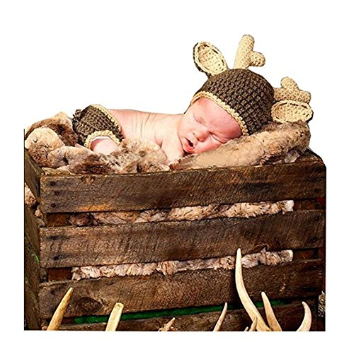 Newborn Baby Photo Props Boy Girl Photo Shoot Outfits Crochet Knit Christmas Deer Hat Shorts Photography Props