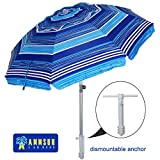 AMMSUN 7 ft Sand Anchor Beach Umbrella Adjustable Height with Tilt Aluminum Pole, Portable UV 50+ Protection Beach Umbrella for Outdoor Patio Blue