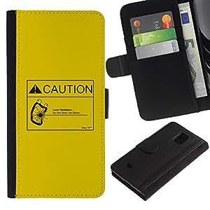 JackGot ( Attenzione radiazione laser ) Samsung Galaxy S5 Mini (Not S5), SM-G800 la tarjeta de Crédito Slots PU Funda de cuero Monedero caso cubierta de piel