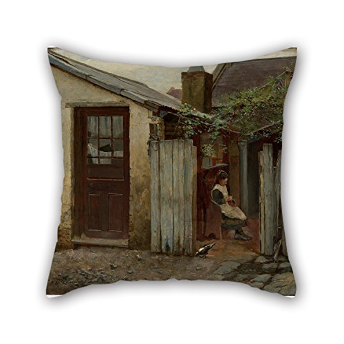 - Pillow Shams Of Oil Painting Frederick McCubbin - Girl With Bird At The King Street Bakery 20 X 20 Inches / 50 By 50 Cm,best Fit For Monther,car Seat,adults,bedroom,lover,couples Two Sides