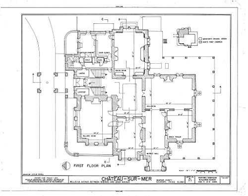 Historic Pictoric Blueprint Diagram HABS RI,3-NEWP,59- (Sheet 5 of 12) - Chateau-sur-Mer, Bellevue Avenue, Newport, Newport County, RI 44in x ()