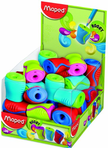 Maped Boogy 1 Hole Canister Pencil Sharpener - Assorted Colours (Pack of 30) 063311 by Helix