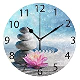 ALAZA Spa Stones in Zen Garden Round Acrylic Wall Clock, Silent Non Ticking Oil Painting Home Office School Decorative Clock Art