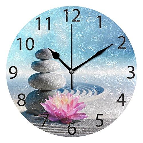 ALAZA Spa Stones in Zen Garden Round Acrylic Wall Clock, Silent Non Ticking Oil Painting Home Office School Decorative Clock Art
