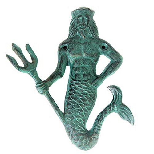 Cast Iron Neptune Hook Green with Mounting Hardware Bronze Verdigris Patina Perfect King of the Sea Merman for keys, coats, hats and -