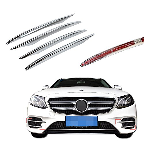 GTINTHEBOX Front Corner Mesh Grill Molding Fog Lights Exterior Cover Trims For 2016 2017 2018 Mercedes Benz E-Class E200 E300 Sedan Sport W213 E43 AMG (Chrome Silver)