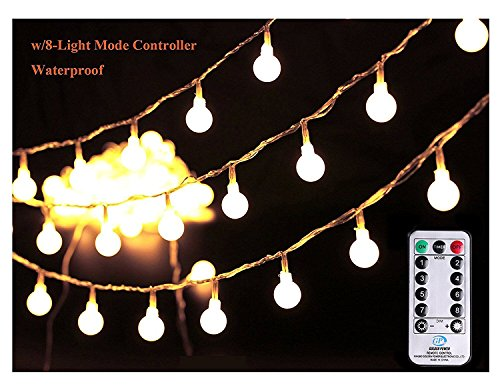 [Remote & Timer] 33Ft Globe String Lights 100LED Fairy Twinkle Lights with Remote 8 Modes Controller & UL Listed Adaptor Plug-for Patio/Party/Garden/Wedding Decor, Warm White (Bulbs Light Fairy)