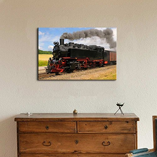 Steam Train with Black Smoke Running on Island Rugen Northern Germany Wall Decor