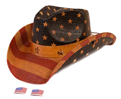 USA Vintage American Flag Western Hat -