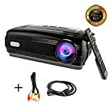 HD projector, Sourcingbay BY58 1080P 3200 Luminous Efficiency LED Projectors Home Cinema Theater for Outdoor Indoor Movie Night, Support Xbox VGA USB Speaker HDMI Laptops Tablets Smartphones Games