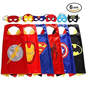 Halloween Superhero Dress 6 Capes and Masks – Dress Up Kids Toys Holiday Gift