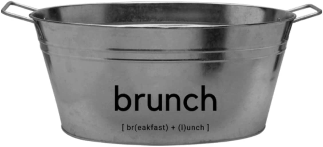 "TIPSY UMBRELLA ""Brunch"" Oversized Galvanized Steel Chiller Bucket (15qt) Cute Mimosa Bar Supplies/Funny Ice Bucket for Cocktail Bar (Steel)"