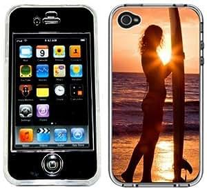 Surfer Girl Surf Surfing Handmade iPhone 4 4S Full Hard Plastic Case