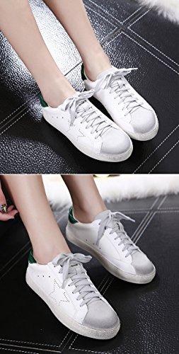 Qzunique Blanc Chaussures Plates Pour Femmes, Conception Unique Chaussures Sales Bout Rond Avec Le Motif Étoile Vert