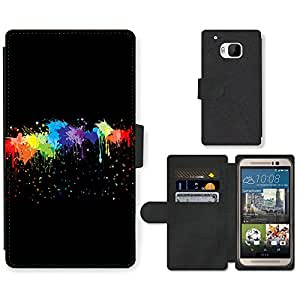 Hot Style Cell Phone Card Slot PU Leather Wallet Case // M99999422 Colourful Abstract Painting Brush // HTC One M9