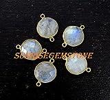 Devgemsandjewels Natural Rainbow Moonstone Faceted Round 14 mm Double Bail Gemstone Bezel Connector 24k Gold Plated 50 pcs.