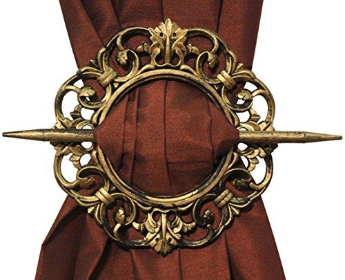 Antique Decorative Curtain Holdback, Set of 2, Bronze Silver Mahogany Gold (Gold) (Curtain Antique Tiebacks)