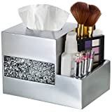 Tissue Box Cover - Wipe Holder - Multi-Function Organizer for Makeup Cosmetics Pen Pencil Remote Control Phone iPad, for living room Bathroom Kitchen Office Desktop Table,(Silver)