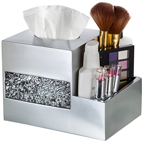 Tissue Box Cover - Wipe Holder - Multi-Function Organizer for Makeup Cosmetics - Accessories Bathroom And Mirrored Black