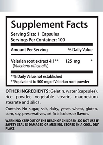 Sleep aid herbal supplement - VALERIAN ROOT EXTRACT 125 MG - Anxiety supplement - 6 Bottle 600 Capsules by PL NUTRITION (Image #1)