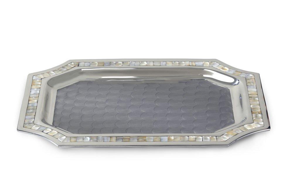 Julia Knight Classic Octagonal Tray, 20-Inch, Platinum, Silver