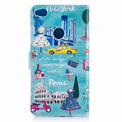 Yiizy Huawei P8 Lite (2017) / Honor 8 Lite / Nova Lite Custodia Cover, Stile Europeo Design Sottile Flip Portafoglio PU Pelle Cuoio Copertura Shell Case Slot Schede Cavalletto Stile Libro Bumper Prote