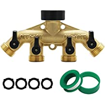"Maggift 4 Way Brass hose splitter, Heavy Duty Garden Hose Connector with 4 shut-off Valves 3/4"""