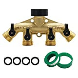 Maggift 4 Way Brass hose splitter, Heavy Duty Garden Hose Connector with 4 shut-off Valves 3/4''