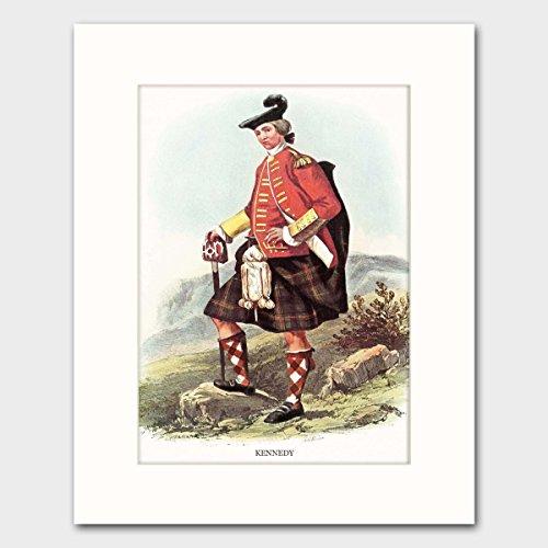 Kennedy Clan, Scotland Art w/Mat (Last Name Wall Decor, Scottish Highlands Dress) --- Matted Print