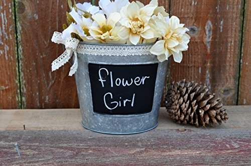 flower-girl-basket-rustic-wedding-galvanized-metal-bucket-chalkboard-front-lace-bow-and-wood-heart