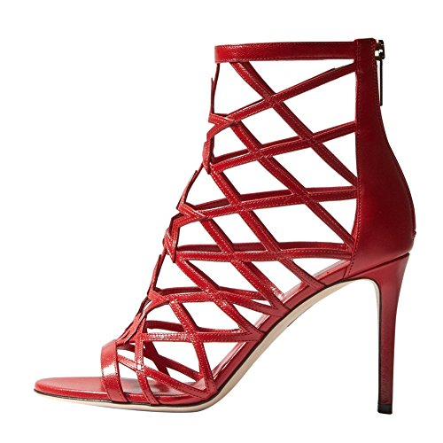 Onlymaker Damen Open Toe Peep Toe Römersandalen Stiletto High-Heels mit Reißverschluss Rot