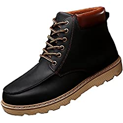 GIY Men Fashion Round Toe High-top Martin Boots Waterproof Platform Thick Bottom Lace-up Bootie Shoes