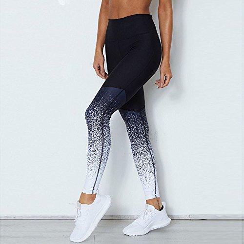 Bleu Pantalon Taille Leggings Running Sport Élastiques Beikoard Sport Pantalon Yoga Legging Workout Fitness Crayon Haute Femmes Z4fRO