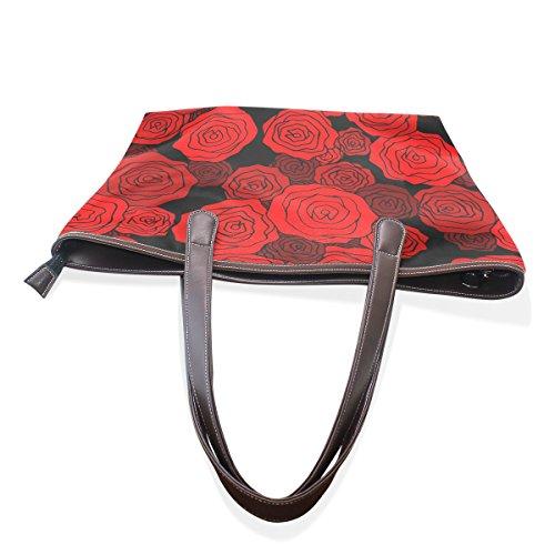 M Large Bag Red Cm Coosun 40x29x9 Handle Leather Multicolor Bag Pu Shoulder Tote Bag 001 Pattern Rose UHw7XvF