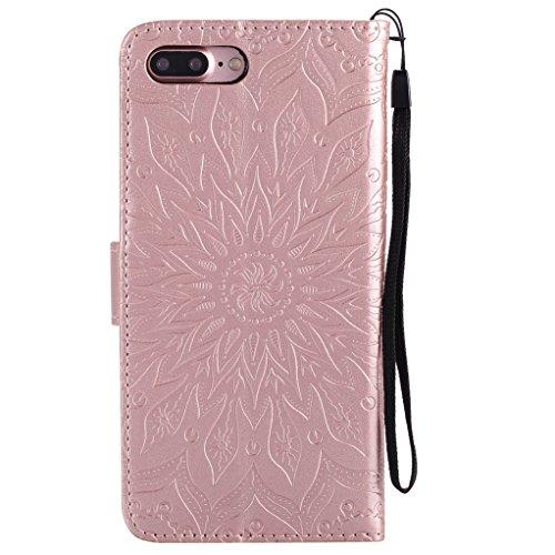 Trumpshop Smartphone Carcasa Funda Protección para Apple iPhone 8 (4.7 Pulgada) [Marrón] 3D Mandala PU Cuero Caja Protector Billetera Choque Absorción Oro Rosa