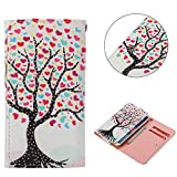 """Universal Cell Phone Flip Case Compatible LG G Stylo G4 Stylus 4G LS770 H631 F560K 5.7"""" and More, Tenplus PU Leather Skin Protective Folio Case Cover Wallet Bag with Card Slots (Heart Tree)"""